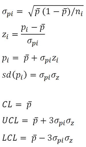 p prime Control Chart Formulas   Laney p chart formula   p'