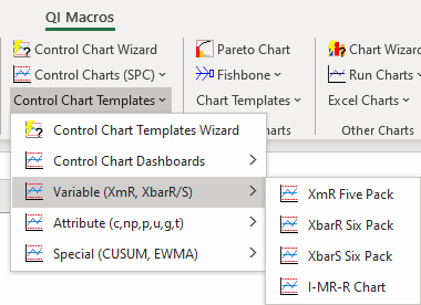 variable control chart templates on menu