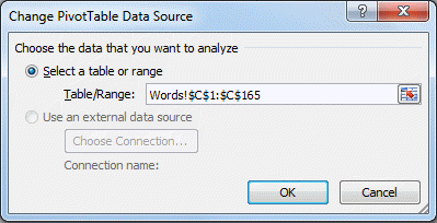 change pivottable data source