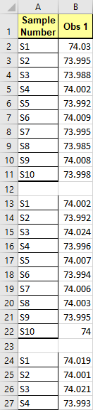 multiple-column data stacked into one column with blank row between