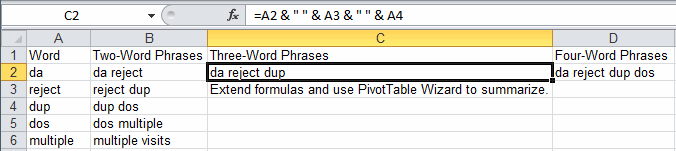 word count formula in Excel