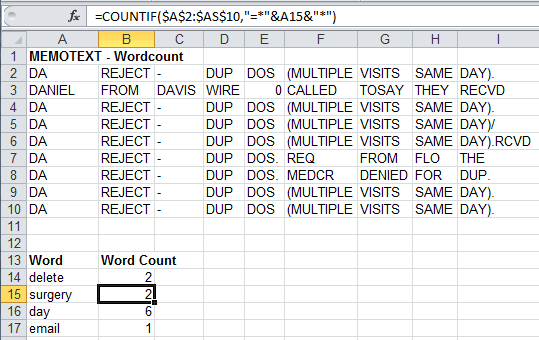 Counting Words with COUNTIF after Text-to-Column Split