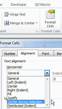 Center Across Selection using Format Cells Ribbon