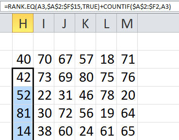Excel RANK Hack for first Column