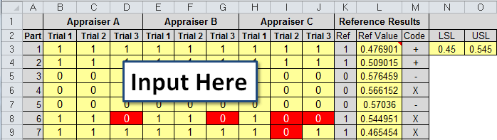 attribute gage r&r template input area
