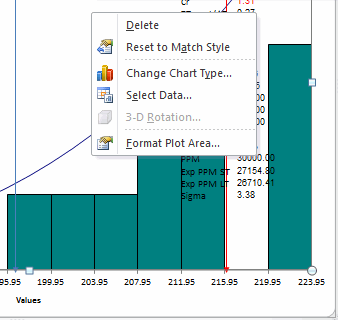 change source data plotted by histogram in Excel