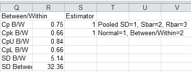 Select Pooled SD, Sbar or Rbar for Estimator