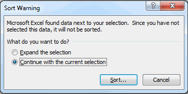 sort warning prompt in Excel