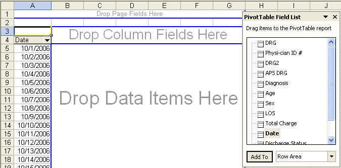 pivot table outline to drag and drop data