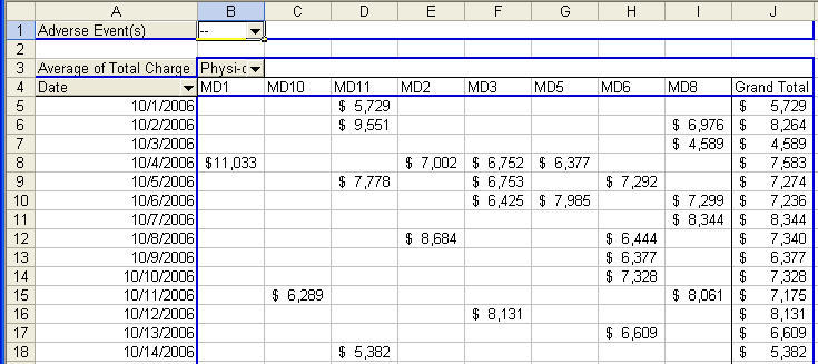 PivotTable Wizard Pivot Table output