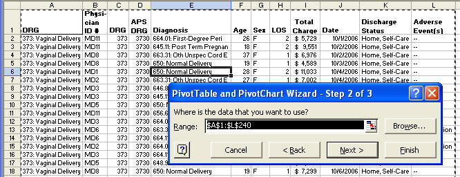 pivot table select data range in Excel