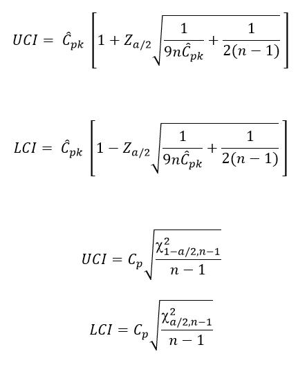 Cpk Confidence Interval Formulas