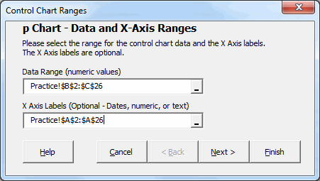 spc xl define data range