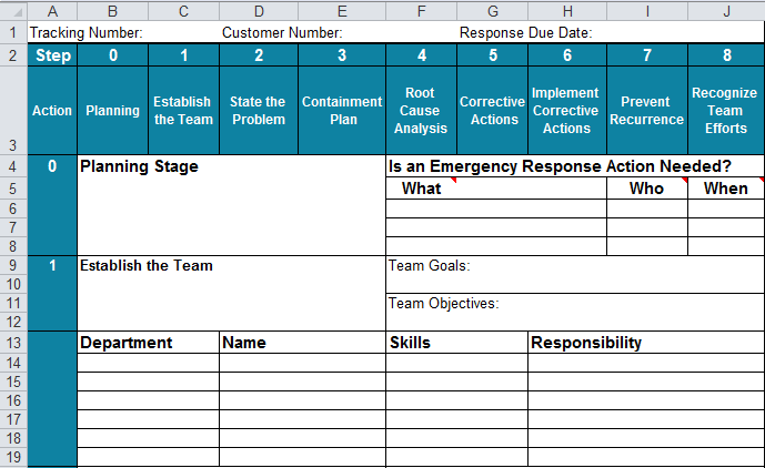 8D report template in Excel Steps 0 and 1