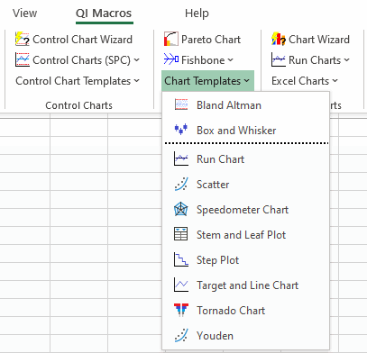 chart templates menu in QI Macros excel add-in