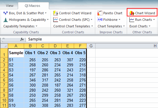 select the right chart in Excel