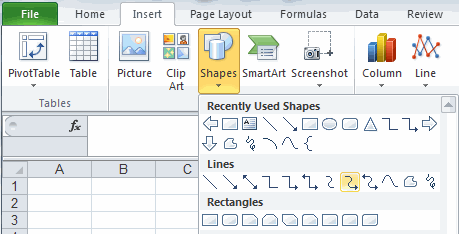 Excel drawing tools