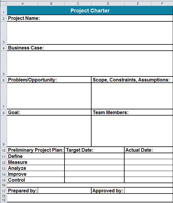 Six Sigma Project Charter Template in Excel