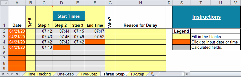 time tracking template 3 step