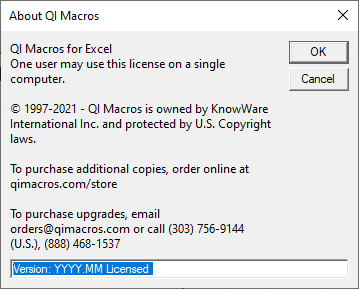 About QI Macros Window