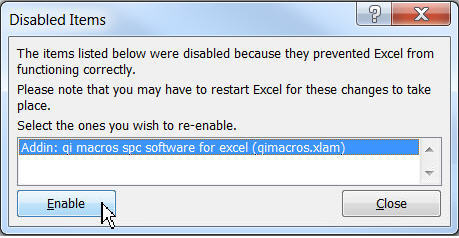 disabled excel addin