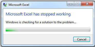 Excel has Stopped Working