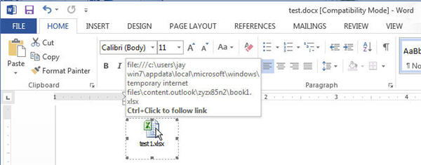Link to Excel file in Word
