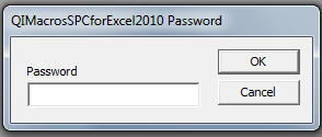 Excel Prompts for QI Macros Addin Password