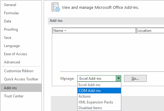 Excel 2013 Manage Addins Menu